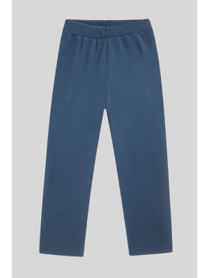Knit Trousers With Slit Trousers -İndigo