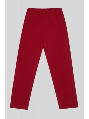 Knit Trousers With Slit Trousers -Red