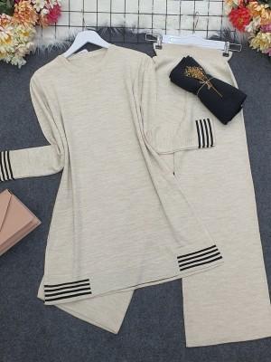Skirt and Sleeve Striped Slit Knitwear Set -Stone
