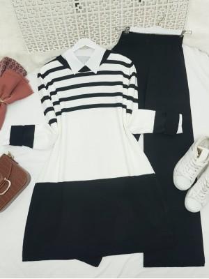 Top Striped Slit Loose Knitwear Set -Black
