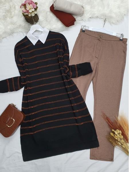 Pearl Silvery Striped Knitwear Tunic -Copper