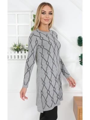 Crew Neck Silvery Patterned Knitwear Tunic -Grey