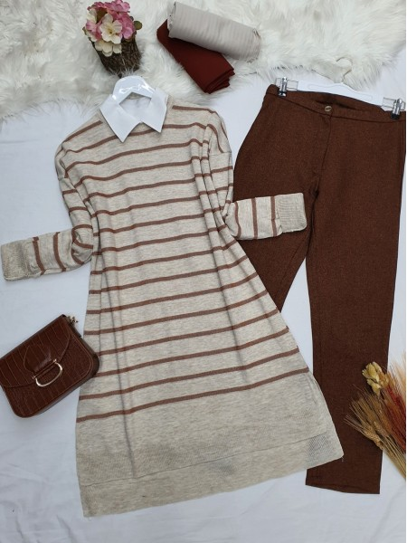 Pearl Silvery Striped Knitwear Tunic -Stone