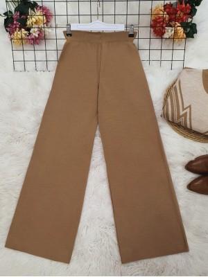 Wide Leg Elastic Waist Knitwear Trousers -Mink color