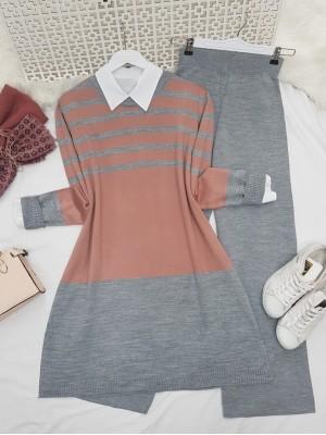 Top Striped Slit Loose Knitwear Set -Grey