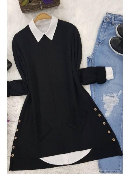 Buttoned Side Pocket Knitwear Tunic -Black