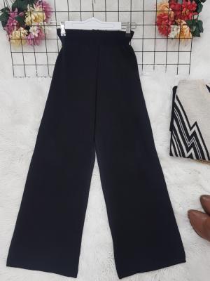 Wide Leg Elastic Waist Knitwear Trousers -Black