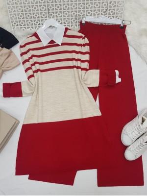 Top Striped Slit Loose Knitwear Set -Red