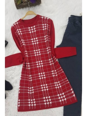 Checkered Crowbar Tricot Tunic -Red