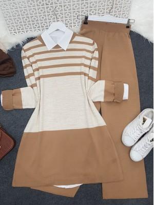 Top Striped Slit Loose Knitwear Set -Mink color