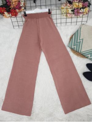 Wide Leg Elastic Waist Knitwear Trousers -Powder