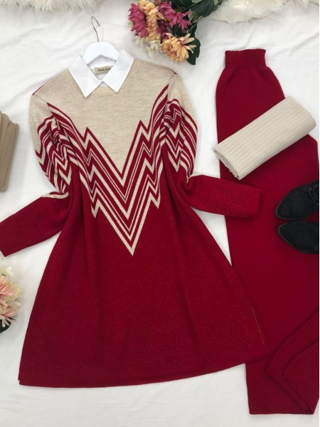 Front and Sleeves Patterned Slit Knitwear Tunic -Red