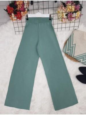 Wide Leg Elastic Waist Knitwear Trousers -Mint Color