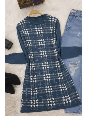 Checkered Crowbar Tricot Tunic -Oil color