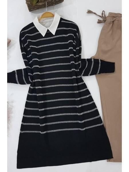 Pearl Silvery Striped Knitwear Tunic -Silver
