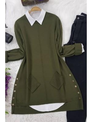 Buttoned Side Pocket Knitwear Tunic -Khaki