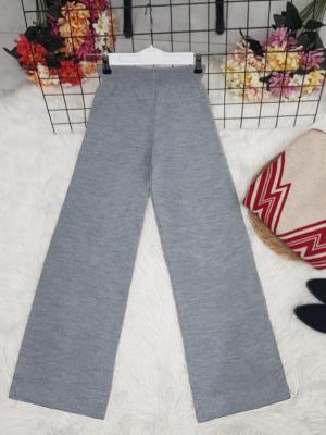 Wide Leg Elastic Waist Knitwear Trousers -Grey