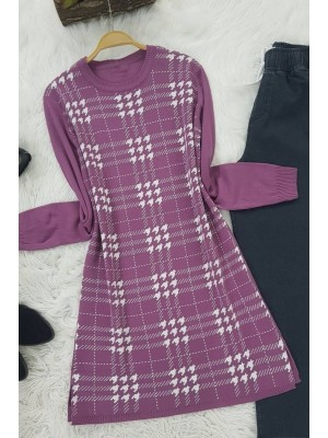 Checkered Crowbar Tricot Tunic-Cherry Color