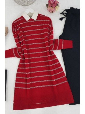 Pearl Silvery Striped Knitwear Tunic -Red