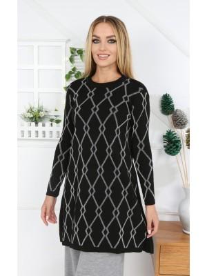 Crew Neck Silvery Patterned Knitwear Tunic -Black