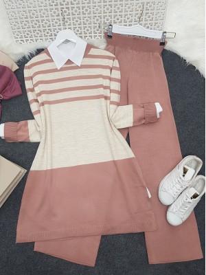 Top Striped Slit Loose Knitwear Set -Powder