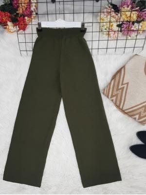 Wide Leg Elastic Waist Knitwear Trousers -Khaki