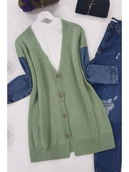 Jeans Detailed Buttoned Cardigan -Mint Color
