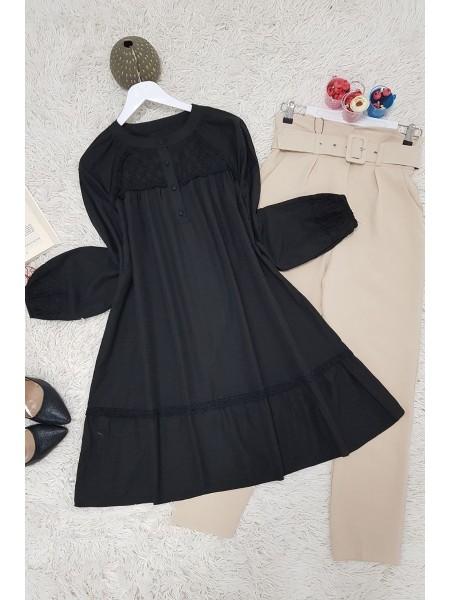 Round neck loose-fitting tunic -Black