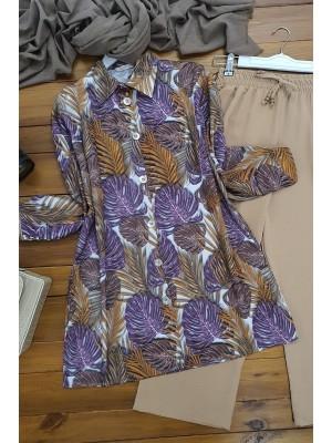 Digital Printed Shirt   -Lilac