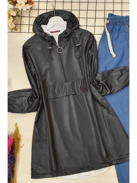 Half Zipper Jersey Sweat -Black