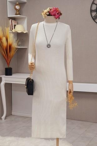 Triko Elbise  -Beyaz