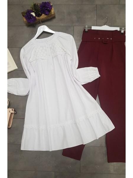 Round neck loose-fitting tunic -White