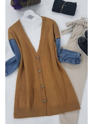Jeans Detailed Buttoned Cardigan -Snuff