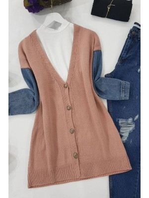 Jeans Detailed Buttoned Cardigan-Powder
