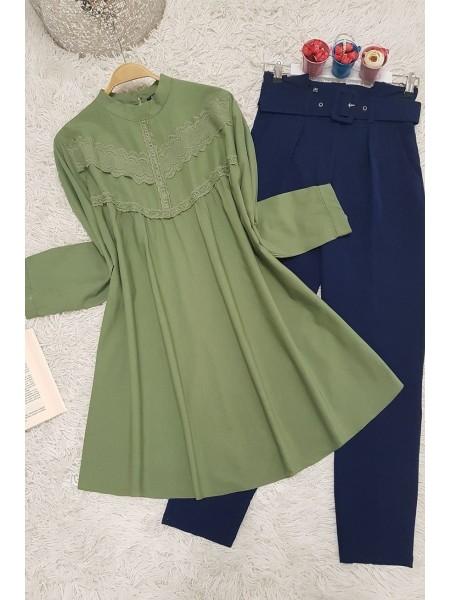 Guipure detailed shabby tunic -Green