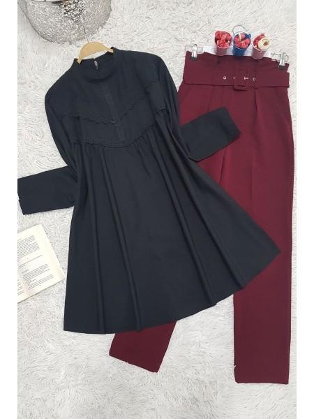 Guipure detailed shabby tunic -Black