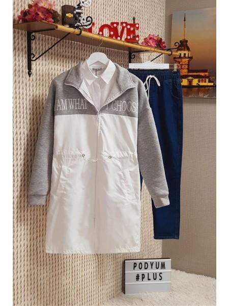 Zippered Diving Collar Raincoat -Grey