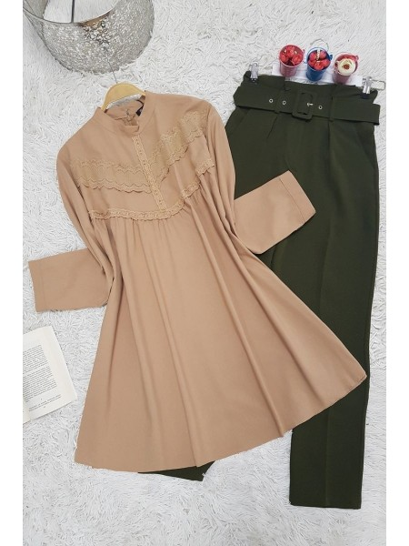 Guipure detailed shabby tunic -Mink color