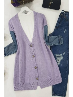 Jeans Detailed Buttoned Cardigan -Lilac