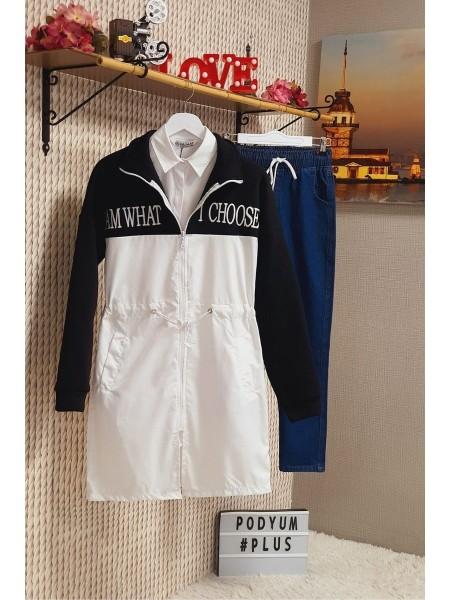 Zippered Diving Collar Raincoat -Black