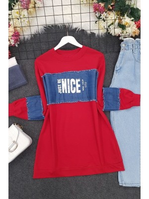 Combed Cotton Sweat with Top and Sleeve Denim Garnish -Red