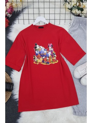 Character Printed T-Shirt -Red