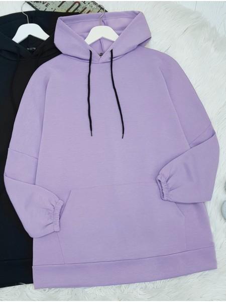 Hooded Kangaroo Pocket Sleeve Elastic Sweat -Lilac