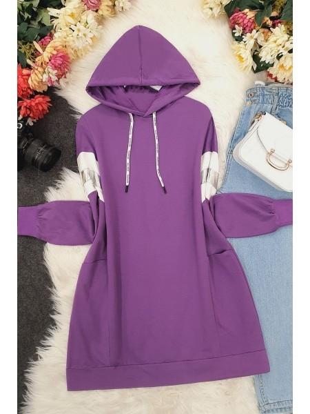hooded reflective tunic - Purple