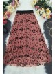 Tulle Printed Elastic Skirt -Cherry Color
