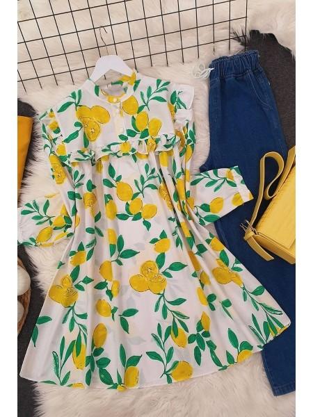 Printed Roba Frilly Tunic -Green