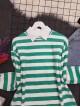 Crew Neck Thick Striped Slit Sweat -Green