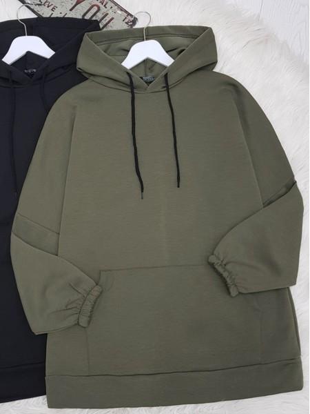 Hooded Kangaroo Pocket Sleeve Elastic Sweat -Khaki