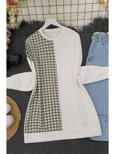 Half Gofre Pattern Combed Cotton Sweat -Khaki
