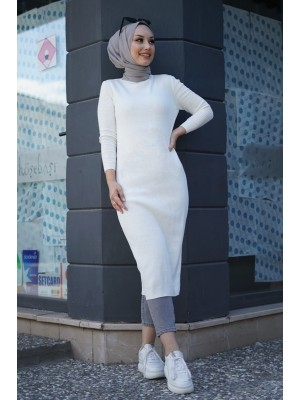 Triko Elbise  -White